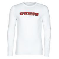 Textil Muži Trička s dlouhými rukávy Guess GUESS PROMO CN LS TEE Bílá