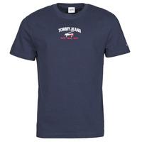 Textil Muži Trička s krátkým rukávem Tommy Jeans TJM TIMELESS TOMMY SCRIPT TEE Tmavě modrá