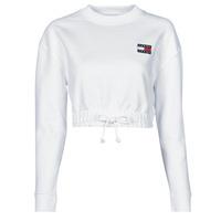 Textil Ženy Mikiny Tommy Jeans TJW SUPER CROPPED BADGE CREW Bílá