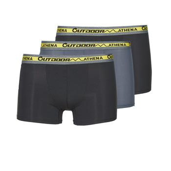 Spodní prádlo  Muži Boxerky Athena OUTDOOR RECYCLEE X3 Černá / Šedá / Černá