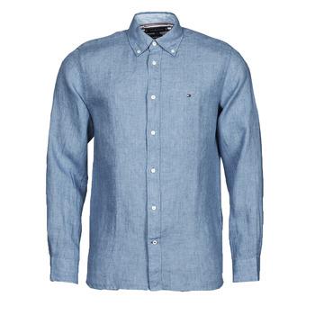 Textil Muži Košile s dlouhymi rukávy Tommy Hilfiger PIGMENT DYED LINEN SHIRT Modrá