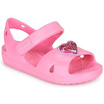 Boty Dívčí Sandály Crocs CLASSICCROSSSTRAPCHARMSANDAL T Růžová