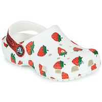 Boty Dívčí Pantofle Crocs CLASSIC FOOD PRINT CLOG K Bílá / Růžová