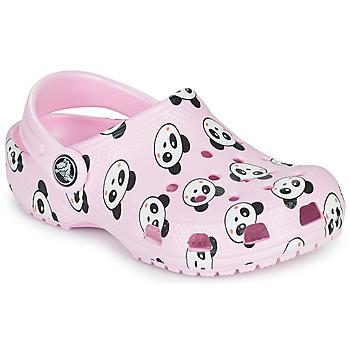 Boty Dívčí Pantofle Crocs CLASSIC PANDA PRINT CLOG K Růžová / Panda