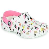 Boty Dívčí Pantofle Crocs CLASSIC HEART PRINT CLOG K Bílá