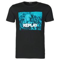 Textil Muži Trička s krátkým rukávem Replay M3412-2660 Černá / Modrá