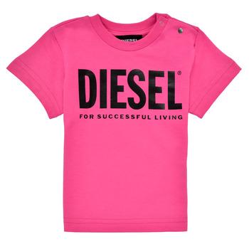 Textil Dívčí Trička s krátkým rukávem Diesel TJUSTLOGOB Růžová