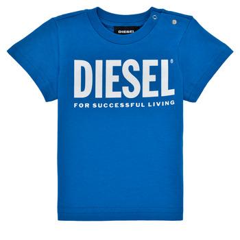 Textil Chlapecké Trička s krátkým rukávem Diesel TJUSTLOGOB Modrá