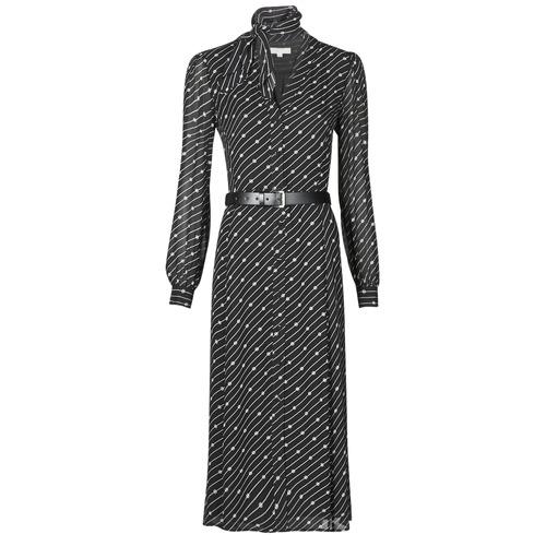 Textil Ženy Společenské šaty MICHAEL Michael Kors CIRCLE LOGO SHRT DRS Černá / Bílá