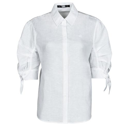 Textil Ženy Košile / Halenky Karl Lagerfeld LINENSHIRTW/BOWS Bílá