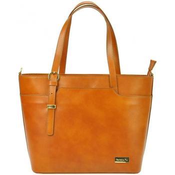 Taška Ženy Velké kabelky / Nákupní tašky Patrizia Piu Kožená camel hnědá dámská kabelka hnědá