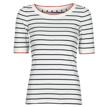 Textil Ženy Trička s krátkým rukávem Esprit RAYURES COL ROUGE Bílá