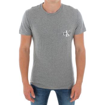 Textil Muži Trička s krátkým rukávem Calvin Klein Jeans J30J311023 039 LIGHT GREY MELANGE Gris