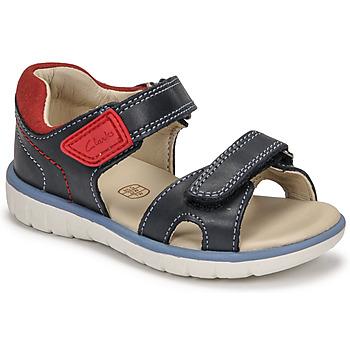 Boty Chlapecké Sandály Clarks ROAM SURF K Tmavě modrá / Červená