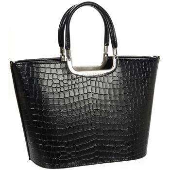 Taška Ženy Velké kabelky / Nákupní tašky Grosso Luxusní kabelka černá lakovaná S7 krokodýl černá