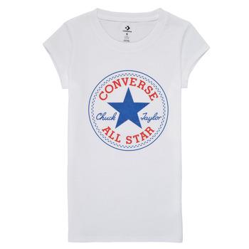 Textil Dívčí Trička s krátkým rukávem Converse TIMELESS CHUCK PATCH TEE Bílá