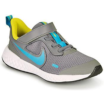Boty Chlapecké Multifunkční sportovní obuv Nike REVOLUTION 5 PS Šedá / Modrá