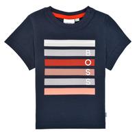 Textil Chlapecké Trička s krátkým rukávem BOSS ENOLITO Tmavě modrá