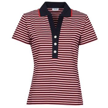 Textil Ženy Polo s krátkými rukávy Liu Jo WA1142-J6183-T9701 Tmavě modrá / Bílá / Červená