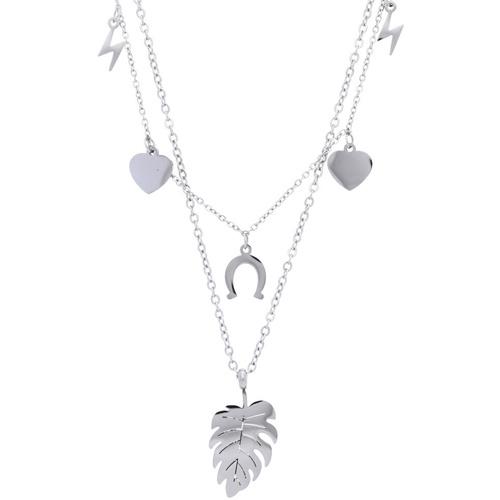 Hodinky & Bižuterie Ženy Náhrdelníky / Řetízky Stainless Steel Stříbrný dámský náhrdelník s lístečkem NP008