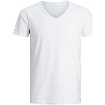 Textil Muži Trička s krátkým rukávem Jack & Jones T-shirt Col-V  Basic blanc