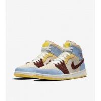 Boty Kotníkové tenisky Nike Air Jordan 1 Mid Fearless x Maison Château Rouge Pale Vanilla/Cinnamon