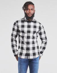 Textil Muži Košile s dlouhymi rukávy Jack & Jones JJEGINGHAM Bílá / Černá