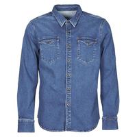 Textil Muži Košile s dlouhymi rukávy Yurban OPUCI Modrá