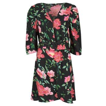Textil Ženy Krátké šaty Only ONLEVE 3/4 SLEEVE SHORT DRESS WVN Černá / Růžová