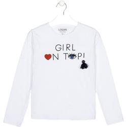 Textil Děti Trička s dlouhými rukávy Losan 024-1021AL Bílý