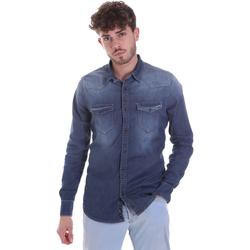 Textil Muži Košile s dlouhymi rukávy Gaudi 021GU46001 Modrý
