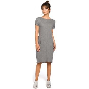 Textil Ženy Šaty Be B050 Midi šaty s kapsami ve švu - šedé