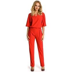Textil Ženy Overaly / Kalhoty s laclem Moe M334 Kombinéza s kimonovým rukávem - červená