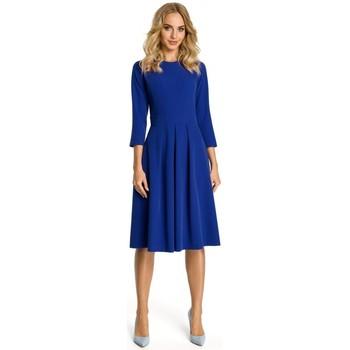 Textil Ženy Krátké šaty Moe M335 Šaty se skříňkovým záhybem vpředu - královská modř