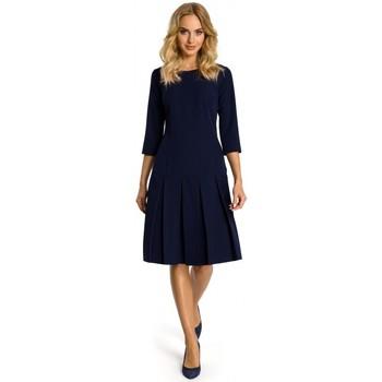 Textil Ženy Krátké šaty Moe M336 Šaty se spadlým pasem a záhyby - tmavě modré