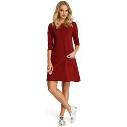 Textil Ženy Krátké šaty Moe M343 Trapézové šaty s pruhy - bordó