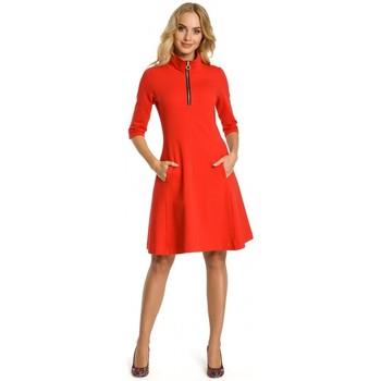 Textil Ženy Krátké šaty Moe M349 Šaty s límečkem na zip - červené