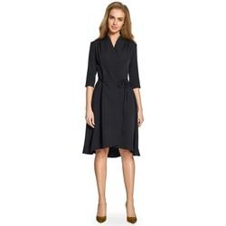 Textil Ženy Krátké šaty Style S099 Šaty s asymetrickým lemem - černé