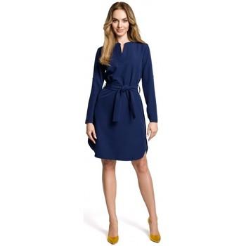 Textil Ženy Krátké šaty Moe M361 Košilové šaty s vázaným páskem - tmavě modré