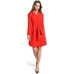 Textil Ženy Krátké šaty Moe M361 Košilové šaty s vázaným páskem - červené