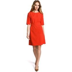 Textil Ženy Krátké šaty Moe M362 Jednoduché šaty do áčka s páskem - červené
