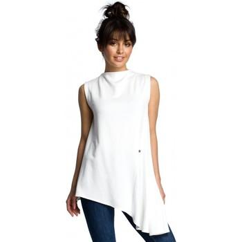 Textil Ženy Halenky / Blůzy Be B069 Asymetrický top bez rukávů - barva ecru