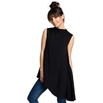 Textil Ženy Halenky / Blůzy Be B069 Asymetrický top bez rukávů - černý