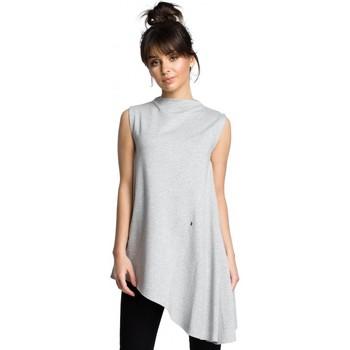 Textil Ženy Halenky / Blůzy Be B069 Asymetrický top bez rukávů - šedý