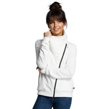 Textil Ženy Bundy Be B071 Mikina na zip - ecru barva