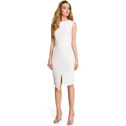 Textil Ženy Krátké šaty Style S105 Šaty bez rukávů s umělým obalem - ecru barva