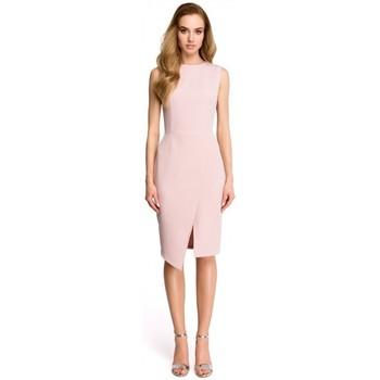 Textil Ženy Krátké šaty Style S105 Šaty bez rukávů s umělým obalem - pudrové