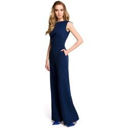 Textil Ženy Overaly / Kalhoty s laclem Style S115 Kombinéza se širokými nohavicemi - tmavě modrá