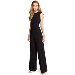 Textil Ženy Overaly / Kalhoty s laclem Style S115 Kombinéza se širokými nohavicemi - černá