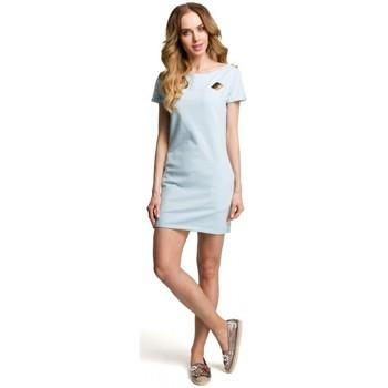 Textil Ženy Krátké šaty Moe M374 Mini šaty s odznakem - světle modré